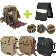 Vintage Canvas Leather Satchel School Shoulder Bag Messenger Bag + Card Holder