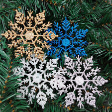 12X Glitter Snowflake Christmas Ornaments Xmas Tree Hanging Decoration Hot Sale