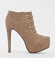Ladies Brown Stiletto Ankle Boots Faux Suede Zip High Heels Booties Shoes Size