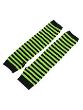 Women Stripe Pattern Elbow Length Fingerless Arm Warmers Gloves Pair