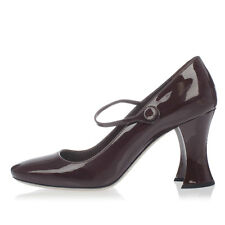 MIU MIU New Woman Pumps Shoes PURPLE BORDEAUX Decollettes Leather Made in Italy