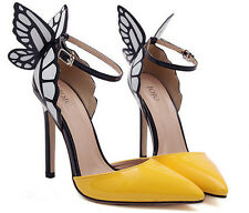 Butterfly Wing Buckle Strappy Pointed Toe Women Shoes Stilettos High Heels Pumps