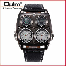 Oulm Leather Men Dual Time Military Compass Thermometer Sport Quartz Wrist Watch