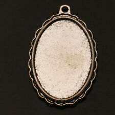 Oval Photo Frame Tibetan Silver Charms Pendants Jewelry Finding Fit Necklace