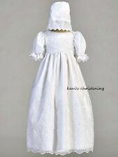 Girls Christening Baptism Dress White Embroidered Organza w/ Bonnet Size 0-18M