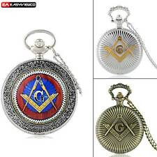 Antique Freemasonry Quartz Pendant Steampunk Pocket Watch Vintage Necklace Chain