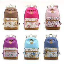 Fashion Women Girl Canvas Backpack Travel Flower Schoolbag Shoulder Rucksack