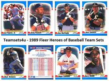 1989 Fleer Heroes of Baseball Team Sets ** Pick Your Team Set **