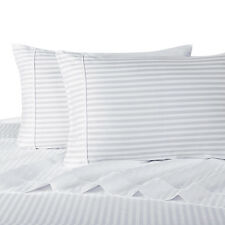 Queen Size 4-PC White OR Ivory Luxury Damask Striped 1000TC 100% Cotton Sheet