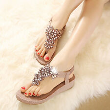 Women Summer Rhinestone Decoration Sandals Slipper Casual Beach Walking Shoes