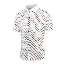 Men Short Sleeves Button Down Point Collar Printed Shirt