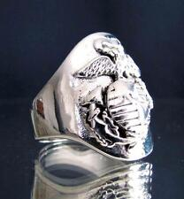 SILVER MILITARY RING UNITED STATES MARINE CORPS NAVY SEAL ARMY ANTIQUED ANY SIZE