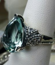 6ct Tear*Aquamarine* Gothic Floral Filigree Sterling Silver Ring {Made To Order}