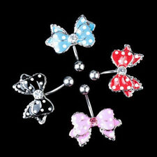 Bow Rhinestone Navel Belly Button Rings Bar Ring Body Jewellery