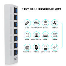 4/7 Ports USB 3.0 Hub Adapter +USB Cable On/Off Switch Power supply interface