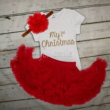 Newborn Infant Baby Girls My First Christmas SantaTop+Tutu Dress Outfit Clothes