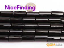 Natural Column Black Agate Onyx Loose Stone Beads For Jewelry Making Strand 15''