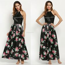 Sexy Women Halter Neck Backless Sleeveless Floral Party Full-length Maxi Dress
