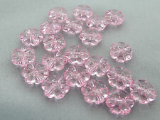 10mm 60/100/../500pcs CLEAR LIGHT PINK ACRYLIC PLASTIC FLOWER BEADS TY05585