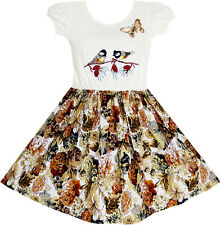 Sunny Fashion Girls Dress Vintage Bird Butterfly School Party Dress Size 5-10