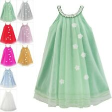 Flower Girls Dress Halter Dress Pearl Party Wedding Birthday Age 4-14 Years
