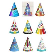 General Party Themes - 8 Paper PARTY HATS (All Ages Birthday PARTY RANGE)
