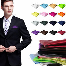 Men Satin Pocket Square Hankerchief Hanky Plain Solid Color For Wedding Party