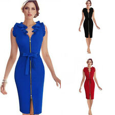 Retro Women Soild V Neck Ruffle Sleeve Belted Bowknot Zipper Sheath Dresses