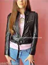 Juicy Couture Black Leather W Zips jacket Cropped Coat Top P XS S Petite Small