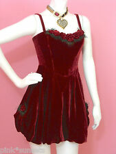 Betsey Jonson Velvet Adrienne Short Bubble Runway SILK DRESS RED PARTY HOLIDAY