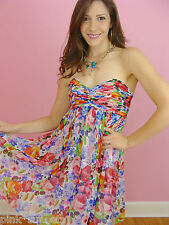 Betsey Johnson Gorgeous Garden Silk Chiffon Babydoll Dress Runway Floral
