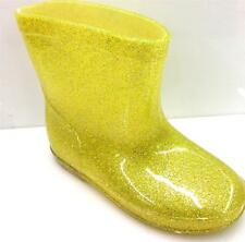 Unisex Toddlers Boys Girls Rain Boots GLITTER YELLOW Kids Shoes Comfy, New