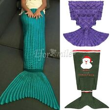 Kids Soft Warm Crocheted Shark Mermaid Tail Blanket Knitting Sofa Sleeping Bag