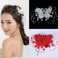 1Pc Stylish Bride Imitation Pearl Butterfly Hair Pin Clip Comb Wedding Princess