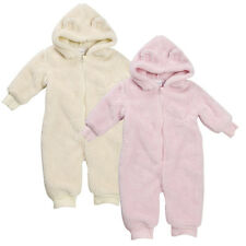 Baby Boys Girls Snuggle Fleece Snowsuit Pramsuit with Ears Newborn to 12 Months