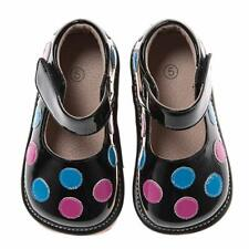 Discontinued Toddler Girl's Leather Squeaky Shoes Black with Blue and Pink Dots
