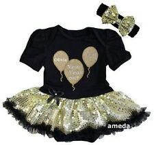 Baby Personalized Name First New Year 2017 Balloons Black Gold Sequin Bodysuit
