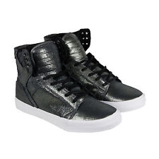 Supra Skytop Mens Metallic Black Leather High Top Lace Up Sneakers Shoes