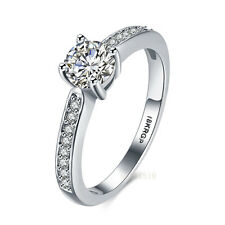 18k white gold filled Solitaire white sapphire crystal style Ring Sz6-Sz9