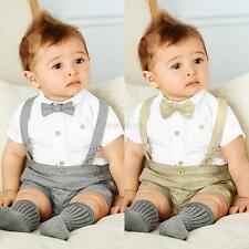 2PCS Set 0-24M Baby Boys Toddler T-shirts Tops+Bib Pants Clothes Overalls Outfit