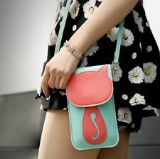Womens Cartoon Cat Mobile Phone Bag Small Pouch Messenger Cross Body Bag Handbag
