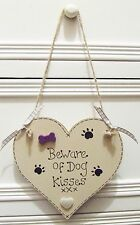 HANDMADE PERSONALISED PLAQUE SIGN DOG KISSES HEART BREED BONE SHABBY CHIC GIFT