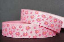 "10Yd Pink & Yellow Mini Flower 5/8"" Pink Grosgrain Ribbon Craft/Bow"