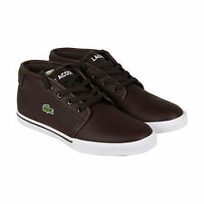 Lacoste Ampthill Lcr3 Spm Dark Brown Mens Brown Leather Sneakers Shoes