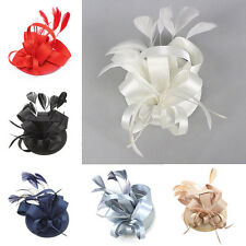2016 Feather Satin Fascinator Hair Clip Lady Cocktail Hat Topper Races Wedding H