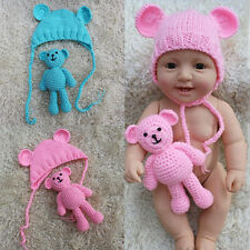 Cute Baby Newborn Beanie Cap Toddler Kid Boy Girl Photo Prop Hat Costume + Doll