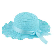 Lady Summer Traveling Outdoor Wavy Brim Bowknot Lace-up Decor Straw Hat