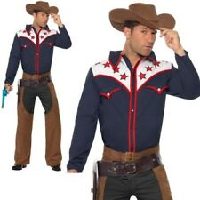 Rodeo Outlaw Costume Mens Texas Cowboy Fancy Dress Outfit M,L