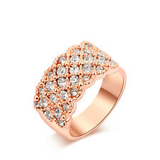 Brand Jewelry 18K Rose Gold GP Austrian Crystal Beautiful Wide Ring Size 6/7/8