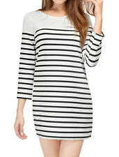 Allegra K Women 3/4 Sleeves Heart Cutout Back Stripes Mini Shift Dress